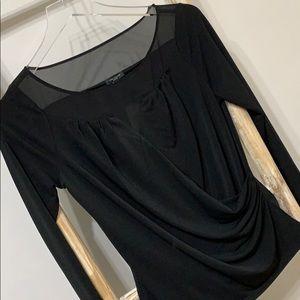 ANN TAYLOR | SP | chic black drape front top
